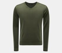 HerrenFeinstrick V-Ausschnitt-Pullover grün