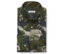 Casual Hemd schmaler Kragen oliv gemustert