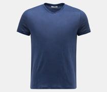 HerrenLeinen V-Neck T-Shirt 'Flynn' blau