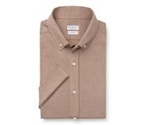 Brunello Cucinelli - Jersey-Kurzarmhemd Button-Down-Kragen hellbraun