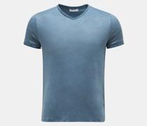 HerrenLeinen V-Neck T-Shirt 'Flynn' graublau
