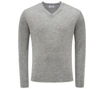 Cashmere V-Neck Pullover grau