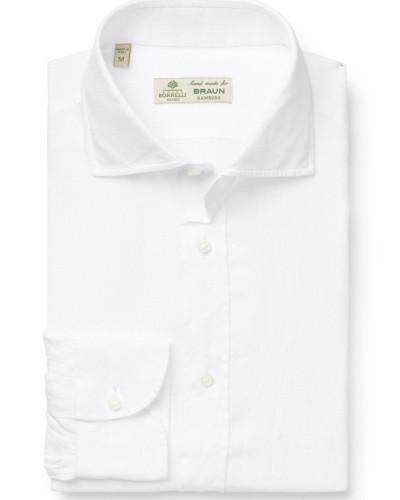 Leinenhemd 'Fabio' Haifisch-Kragen weiß