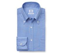 Casual Hemd Button-Down-Kragen blau kariert