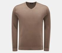 HerrenFeinstrick V-Ausschnitt-Pullover khaki