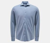 HerrenPiqué-Hemd 'Steve' schmaler Kragen rauchblau