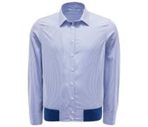Casual Hemd schmaler Kragen dunkelblau gestreift