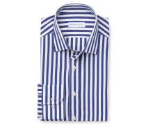 Business Hemd schmaler Kragen navy gestreift