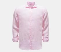 Leinenhemd schmaler Kragen rosé