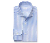 Business Hemd Haifisch-Kragen blau gestreift
