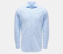 HerrenSeersucker-Hemd Haifisch-Kragen hellblau/weiß