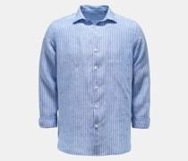 Leinenhemd schmaler Kragen blau/weiß