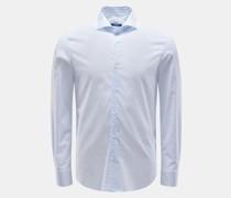 HerrenCasual Hemd 'Sean' Haifisch-Kragen weiß/rauchblau