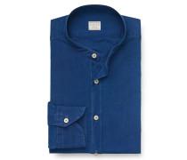 Chambrayhemd 'Tailor Fit' Grandad-Kragen blau