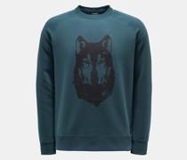 HerrenRundhals-Sweatshirt 'Wolf' dunkelgrün