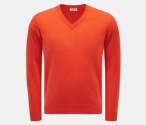 HerrenKaschmirpullover mit V-Ausschnitt orange
