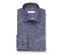Etro - Casual Hemd schmaler Kragen rauchblau gemustert