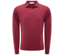 Cashmere Strickpolo dunkelrot