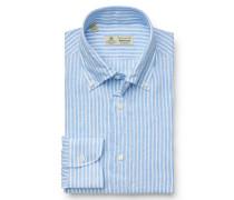 Leinenhemd 'Stefano' Button-Down-Kragen hellblau gestreift
