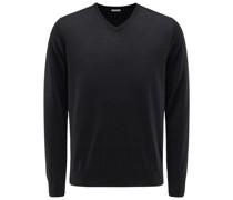 Feinstrick V-Ausschnitt-Pullover schwarz