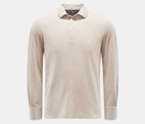 HerrenLongsleeve-Poloshirt beige