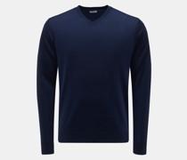 HerrenMerino Feinstrick V-Ausschnitt-Pullover dunkelblau