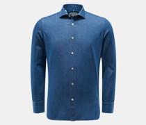 Chambray-Hemd schmaler Kragen dunkelblau
