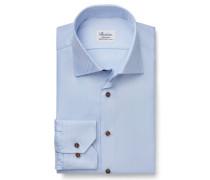 Business Hemd Haifisch-Kragen hellblau gemustert
