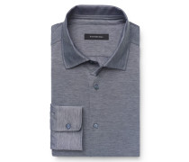 Jersey-Hemd schmaler Kragen grau