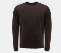 Merino Feinstrick-Pullover dunkelbraun