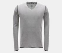 HerrenV-Ausschnitt-Pullover 'co10mbine.144.139' dunkelgrau/weiß