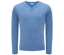 Cashmere V-Neck Pullover blau