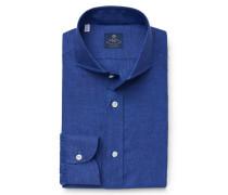 Leinenhemd 'Felice' Haifisch-Kragen blau