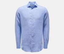 HerrenLeinenhemd Haifisch-Kragen blau/weiß