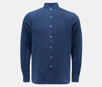 HerrenLeinenhemd 'Aamilcare' Grandad-Kragen dunkelblau