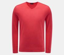 HerrenFeinstrick V-Ausschnitt-Pullover koralle