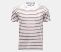 HerrenRundhals-T-Shirt braun/weiß
