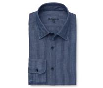 Chambrayhemd schmaler Kragen blau gestreift