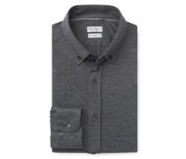 Jersey-Hemd 'Leisure Fit' Button-Down-Kragen dunkelgrau
