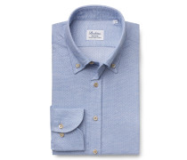 Flanellhemd Button-Down-Kragen hellblau gemustert