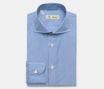 HerrenBusiness Hemd 'Nando' Haifisch-Kragen rauchblau/weiß