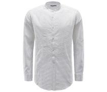 Seersucker-Hemd 'Shedir' Grandad-Kragen weiß gemustert