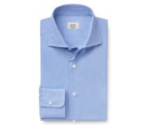 Business Hemd Haifisch-Kragen blau gemustert