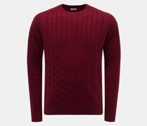 Cashmere Rundhals-Pullover dunkelrot