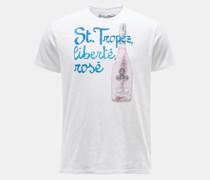 HerrenR-Neck T-Shirt 'Tropez Rose' weiß