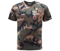 R-Neck T-Shirt oliv gemustert