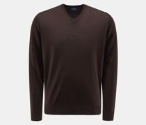 HerrenFeinstrick V-Ausschnitt-Pullover dunkelbraun