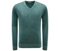 Cashmere V-Neck Pullover grün
