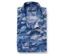 Seersucker-Hemd 'Gemma' schmaler Kragen blau gemustert