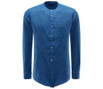 Leinenhemd 'Shedir' Grandad-Kragen blau